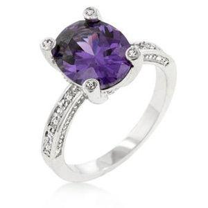 Purple CZ Silvertone Ring - Size 7